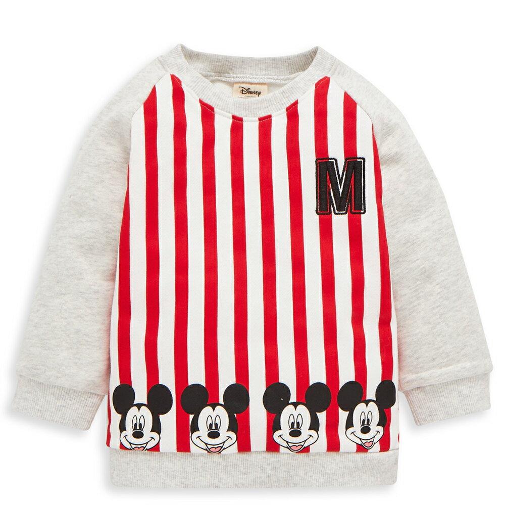 Disney baby 米奇系列條紋刷毛上衣-紅色