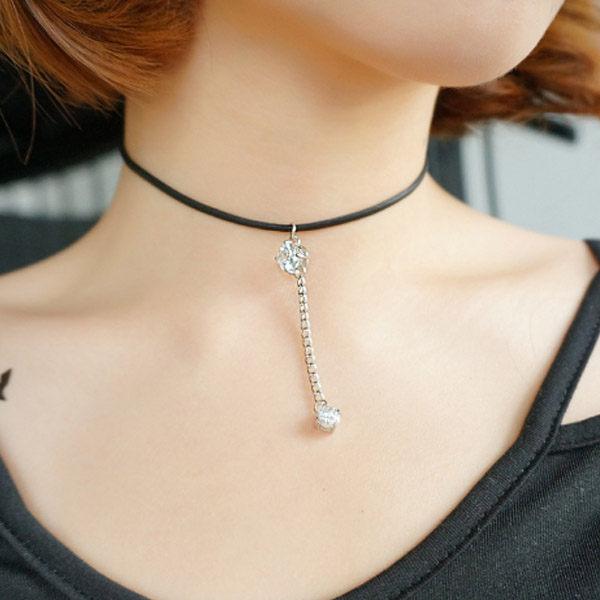 PS Mall 日 簡約頸帶 鋯石短款鎖骨鏈 黑色脖子鏈條原宿飾品~G2101~ ~  好