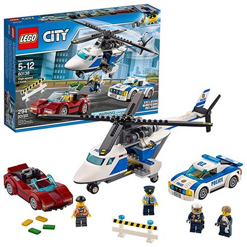 LEGO 樂高 City Police High-Speed Chase 60138 Building Toy with Cop Car, Police Helicopter, and Getaway Sports Car (294 Pieces)