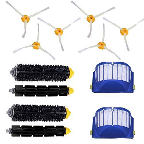 【日本代購】Xigeapg 2藍色Aerovac過濾器+ 2套主刷套件+ 6個側刷Roomba 600 配件更換