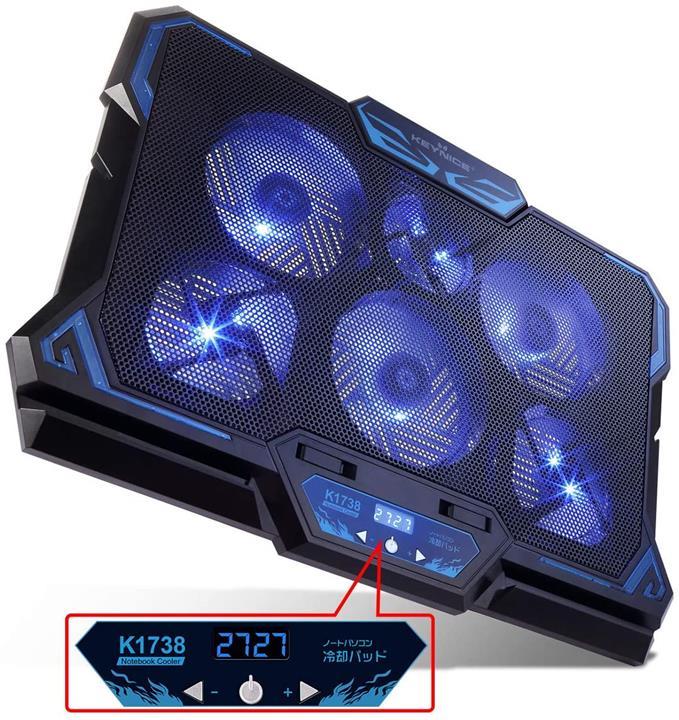 【日本代購】KEYNICE 冷卻風扇 筆電 冷卻 LED 搭載 超靜音 2口 USB連接 支持17英寸  6風扇  藍色