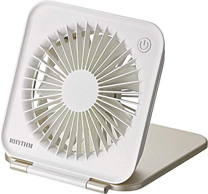 【日本代購】 Rhythm 節奏 USB 風扇桌面小風扇 強風靜音 直流無刷充電隨身攜帶 超薄 金色