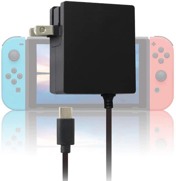 【日本代購】Nintendo Switch / Switch Lite的ALLONE PSE認證 基座相容的AC充電器1.5m快速充電 黑色
