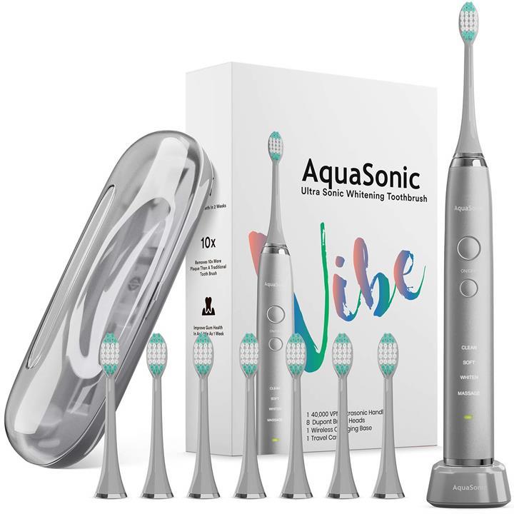 【美國代購】AquaSonic VIBE系列超白電動牙刷- 聲波40 000 VPM 4種模式 金屬炭炭