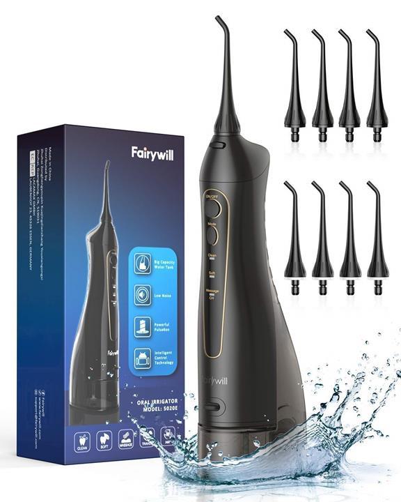 【美國代購】Fairywill 300ML無線便攜式水洗牙清潔器 3種模式和8個噴嘴