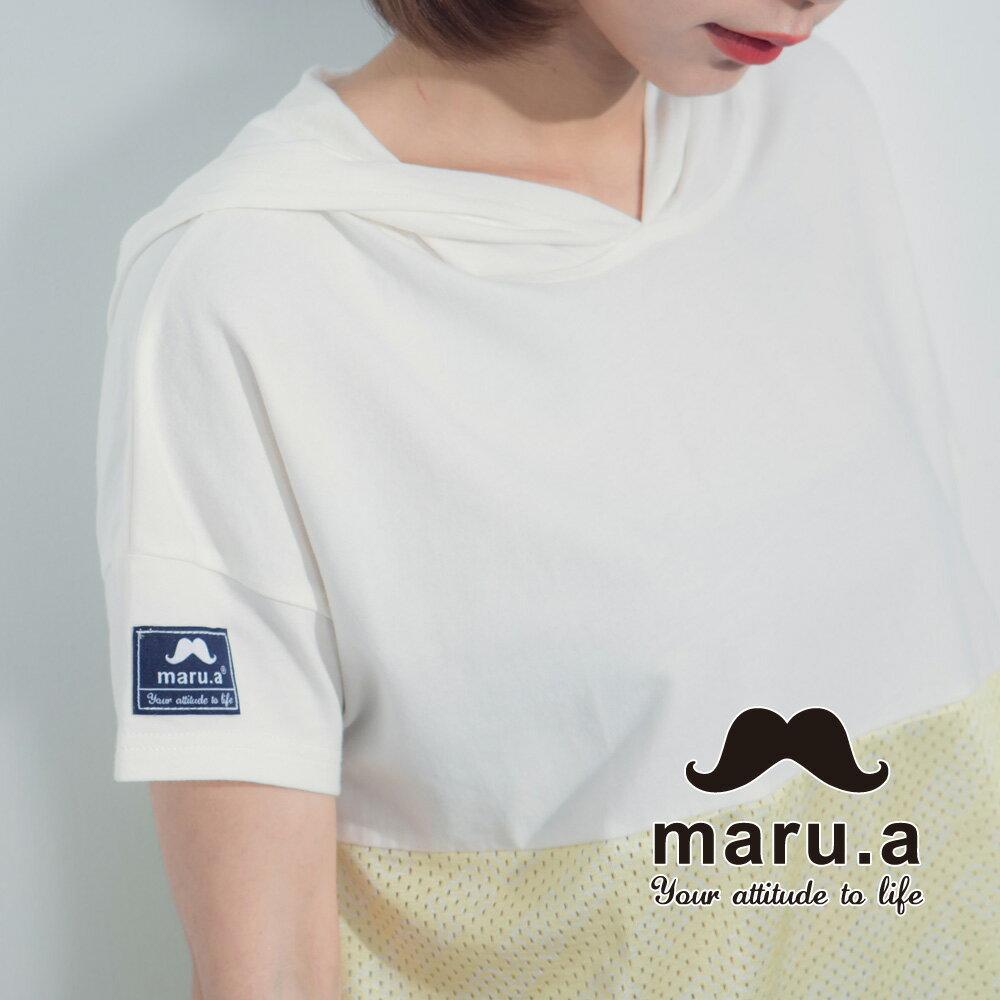 【maru.a】街頭風拼接長版T-shirt 7321317 2