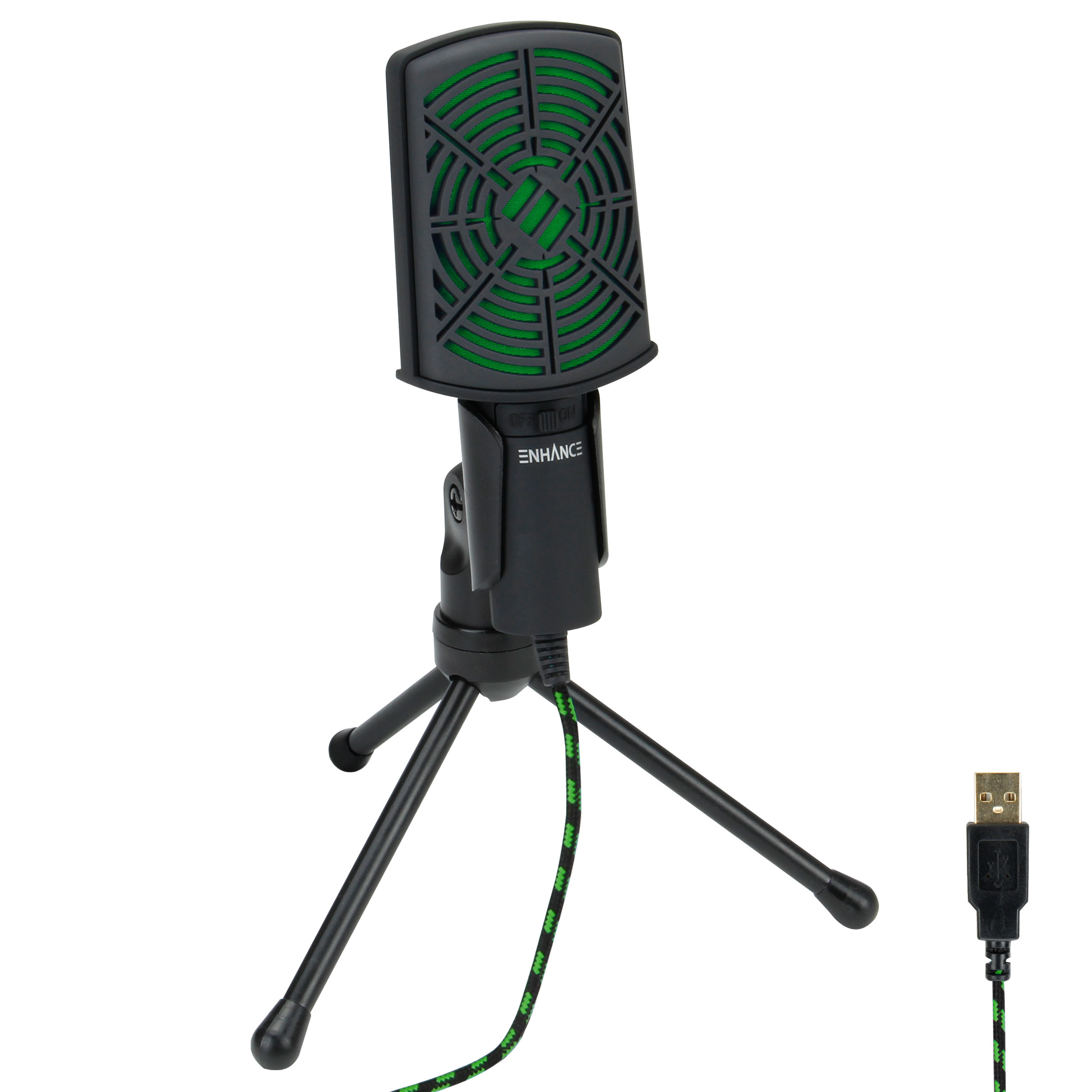 ENHANCE USB Condenser Microphone for PC / Laptop Gaming with Adjustable Desktop Stand 0