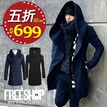 ~全店399 ~Free Shop~QTJB0308~日韓風格高磅保暖毛呢素面雙排扣長版連