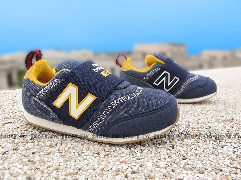 Shoestw【KS620NAI】NEW BALANCE 620 小童鞋 運動鞋 牛仔深藍黃 免綁帶 繃帶鞋