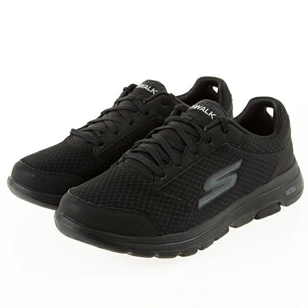 Shoestw【55509BBK】SKECHERS 健走鞋 Go Walk 5 避震緩衝 透氣網布 全黑 男生尺寸 1