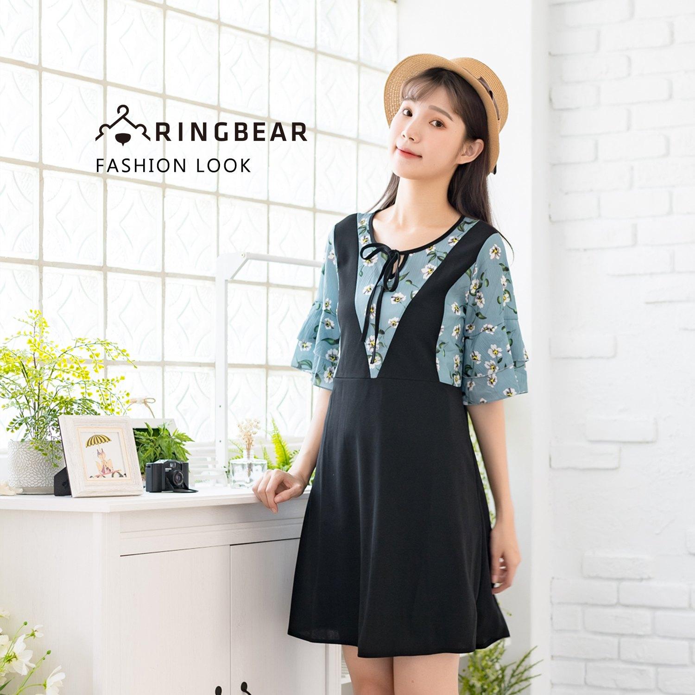 氣質洋裝--假兩件浪漫繫帶圓領碎花拼接荷葉袖A字百搭短袖洋裝(黑M-3L)-D494眼圈熊中大尺碼 0