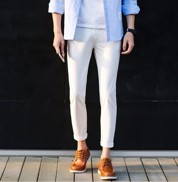 【JP.美日韓】韓國窄版 西裝褲 貼身 白褲 白趴 彈性西裝 窄版 小腳 正式休閒褲 外出 工作擺搭 推薦