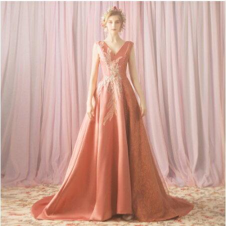 天使嫁衣【AE3006】橙粉色V領無袖大托尾剌繡晚宴禮服˙預購訂製款