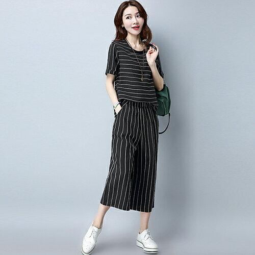 休閒時尚條紋短袖寬鬆七分褲兩件套(4色M~3XL)【OREAD】 2