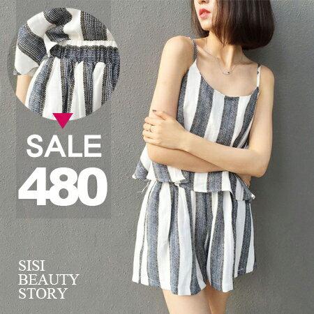 SiSi Girl:SISI【E6032】簡約休閒時尚細肩吊帶寬鬆灰白條紋背心上衣+鬆緊腰寬管短褲套裝