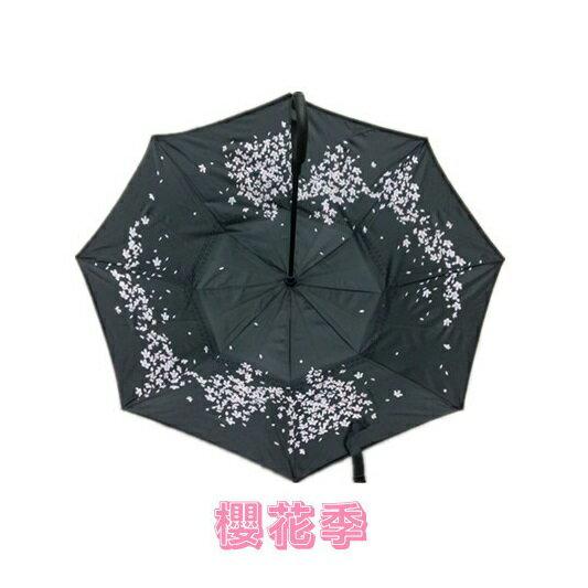 限時免運中~ 雙層傘布抗UV反向傘(手動) 櫻花款/雨傘/雨具/ 抗風、防風/ 收傘不滴水,車內、衣物、地板都不濕/ 人體工學設計