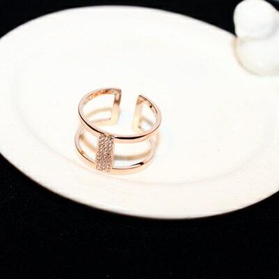 玫瑰金戒指鑲鑽銀飾-簡約潮流氣質個性母親節生日情人節禮物女飾品73by17【獨家進口】【米蘭精品】