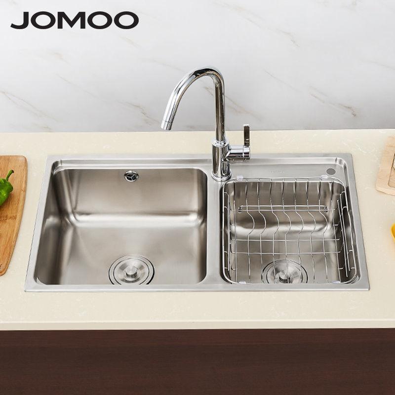 九牧304不銹鋼廚房水槽雙槽套餐廚房洗菜