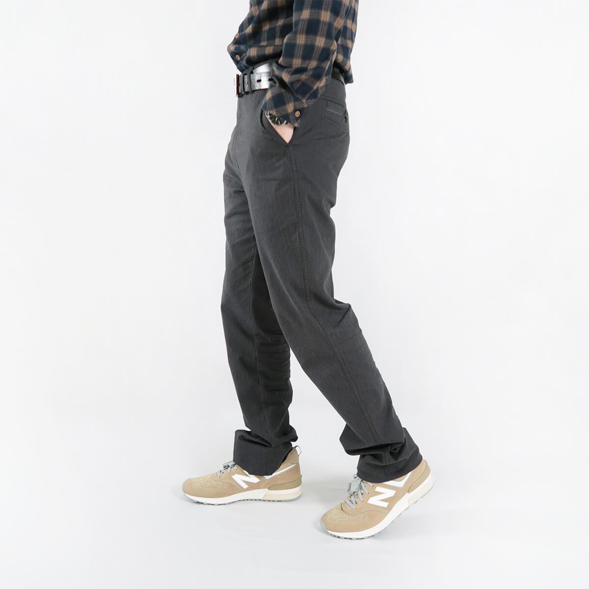 加大尺碼精梳棉平面休閒長褲 顯瘦長褲 彈性長褲 斜口袋條紋長褲 版型修飾腿型更顯修長 COMBED COTTON CASUAL PANTS FLAT FRONT STRAIGHT PANTS SLIM PANTS (321-1071-01)黑色 腰圍30~41(英吋) [實體店面保障] sun-e 4