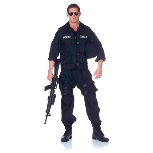 SWAT Team Police Uniform Jumpsuit Costume Adult One Size Fits Most 0