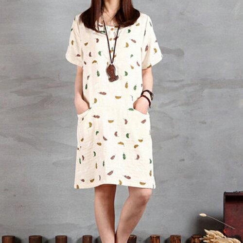 《 任選2件55折》棉麻寬鬆文藝範短袖連身裙 (3色,M~2XL) - ORead 自由風格