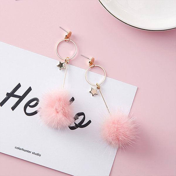 PS Mall 韓版新款百搭五角星毛球耳環 簡約個性幾何吊墜長款耳飾品【G036】 1