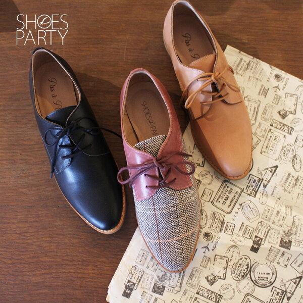 【C2-18715L】經典真皮綁帶德比鞋_ShoesParty