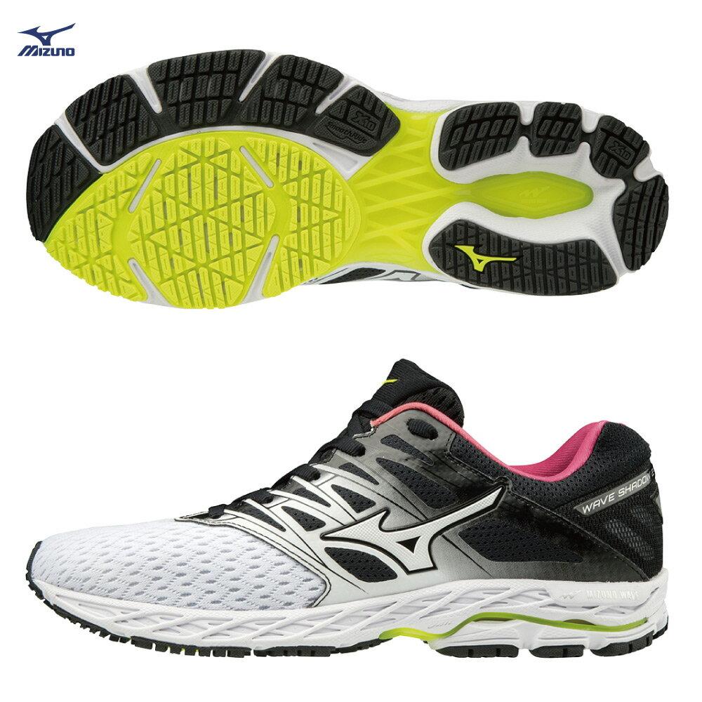 WAVE SHADOW 2 一般型女款慢跑鞋 J1GD183016(白X黑X桃紅)【美津濃MIZUNO】 0