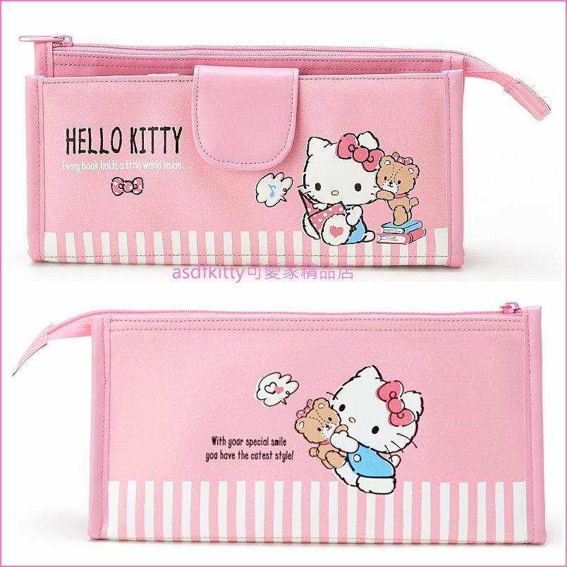 asdfkitty可愛家☆KITTY泰迪熊 筆袋/化妝包-有鉛筆(或眉筆.筆刷)固定層-可直立-日本正版商品