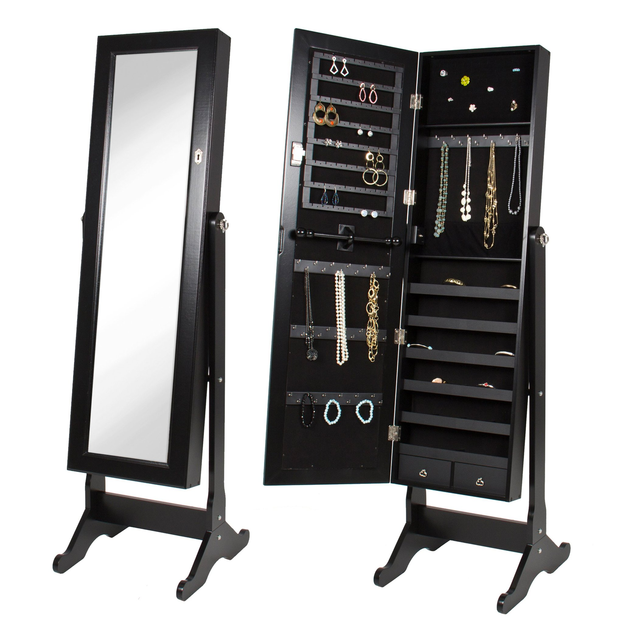 Ordinaire Best Choice Products Mirrored Jewelry Cabinet Armoire W/ Stand Rings,  Necklaces, Bracelets