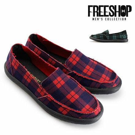 《全店399免運》懶人鞋 Free Shop【QSH0573】美式風格經典格紋百搭低筒休閒鞋懶人鞋 二色 (FS08) MIT台灣製