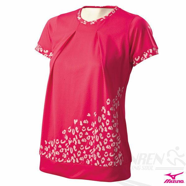 MIZUNO美津濃 DAILY FUN RUNNING女路跑短袖上衣(桃紅)。J2JA430265