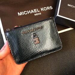 MK 真皮金鎖拉鍊鑰匙零錢包 美人魚藍 新款 鑰匙包 零錢包 手拿包 MICHAEL KORS 現貨 美國代購