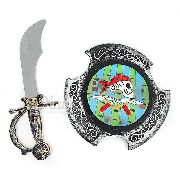 X射線【W400841】骷髏盾刀兩件套,萬聖節/武器道具/派對/角色扮演/化妝舞會/表演/話劇/盔甲武士/海盜/國王