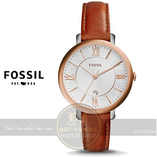 FOSSIL美國品牌Jacqueline 復古羅馬品味淑女腕錶~玫瑰金x咖啡 36mm E