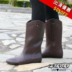 KK012 現貨出清 防水歐美騎士靴內增高中高筒顯瘦雨靴-咖啡S