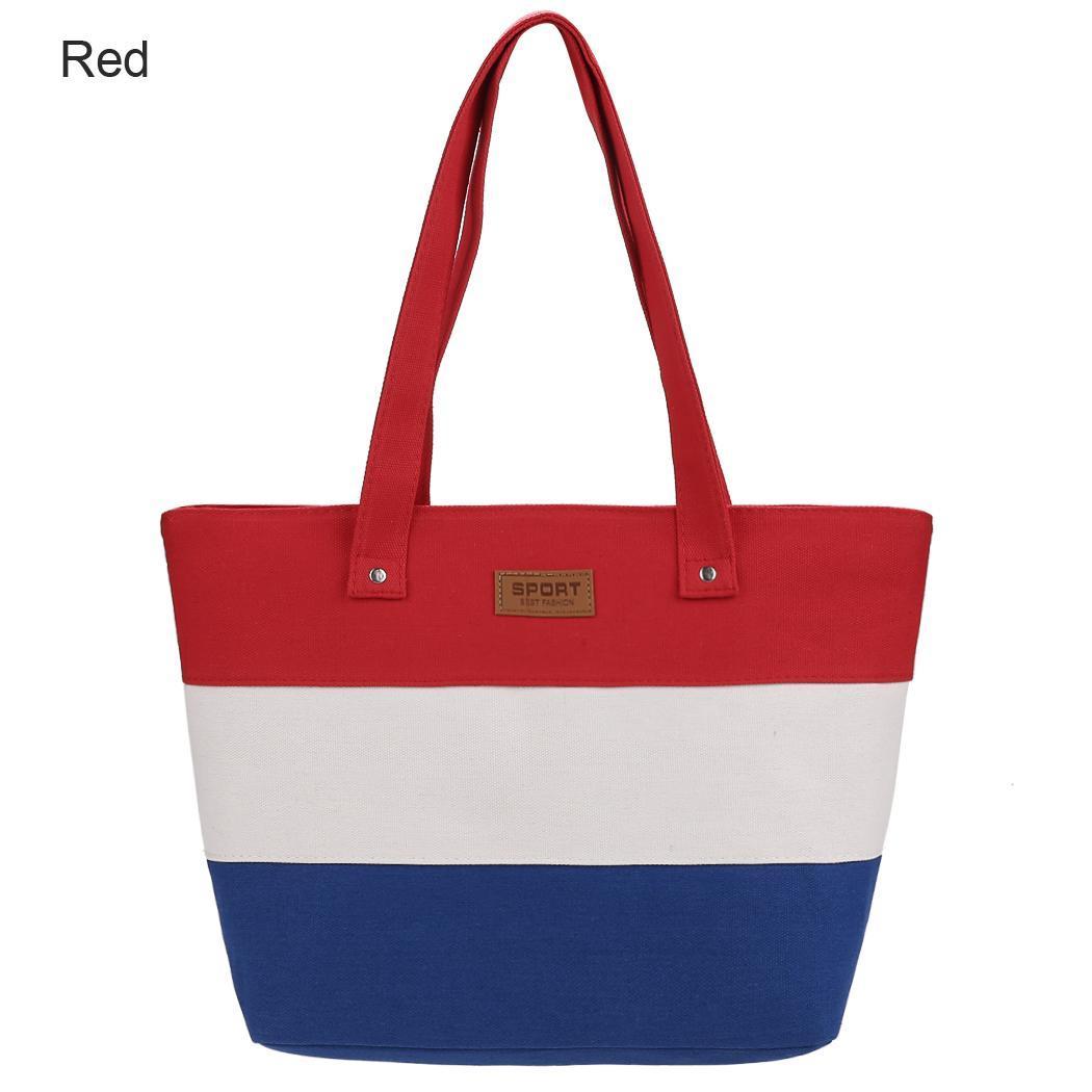 Women Large Capcity CanvasStripe Contrast Color Handbag 4