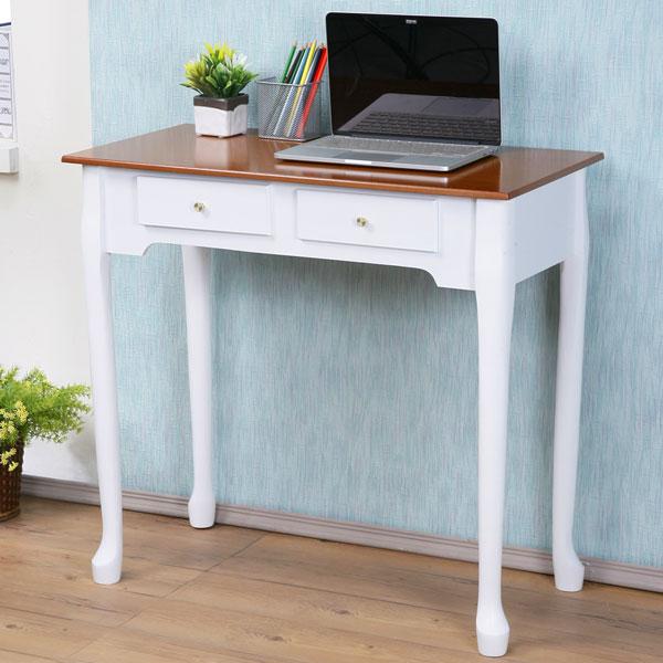 YoStyle維亞歐風二抽書桌^(橡木 白色^) 化妝桌 美甲桌 工作桌 NB桌