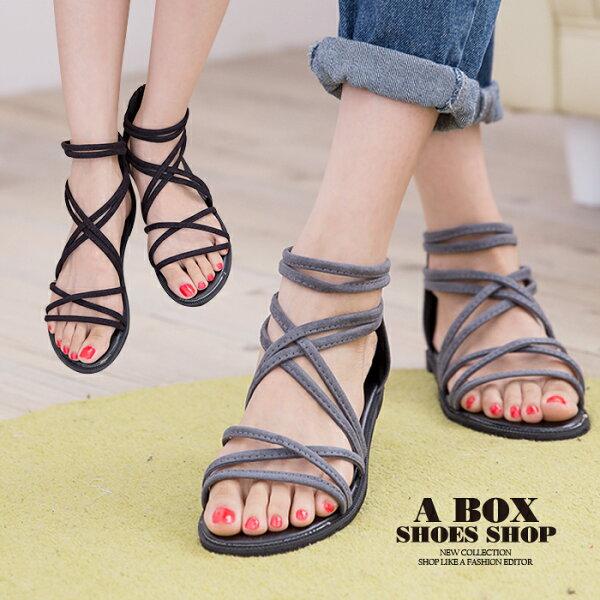格子舖:【AD118】嚴選時尚性感羅馬風高質感絨布材質繞帶羅馬涼鞋2色