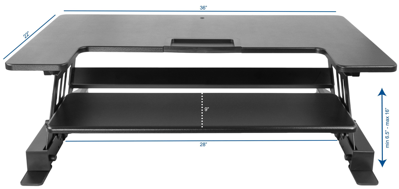 VIVO Height Adjustable Standing Desk Monitor Riser Gas Spring | Black Tabletop Sit to Stand Workstation (DESK-V000B) 1