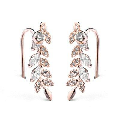 ~玫瑰金耳環925純銀鑲鑽耳飾~優雅氣質樹葉 生日情人節 女飾品2色73gs259~ ~~