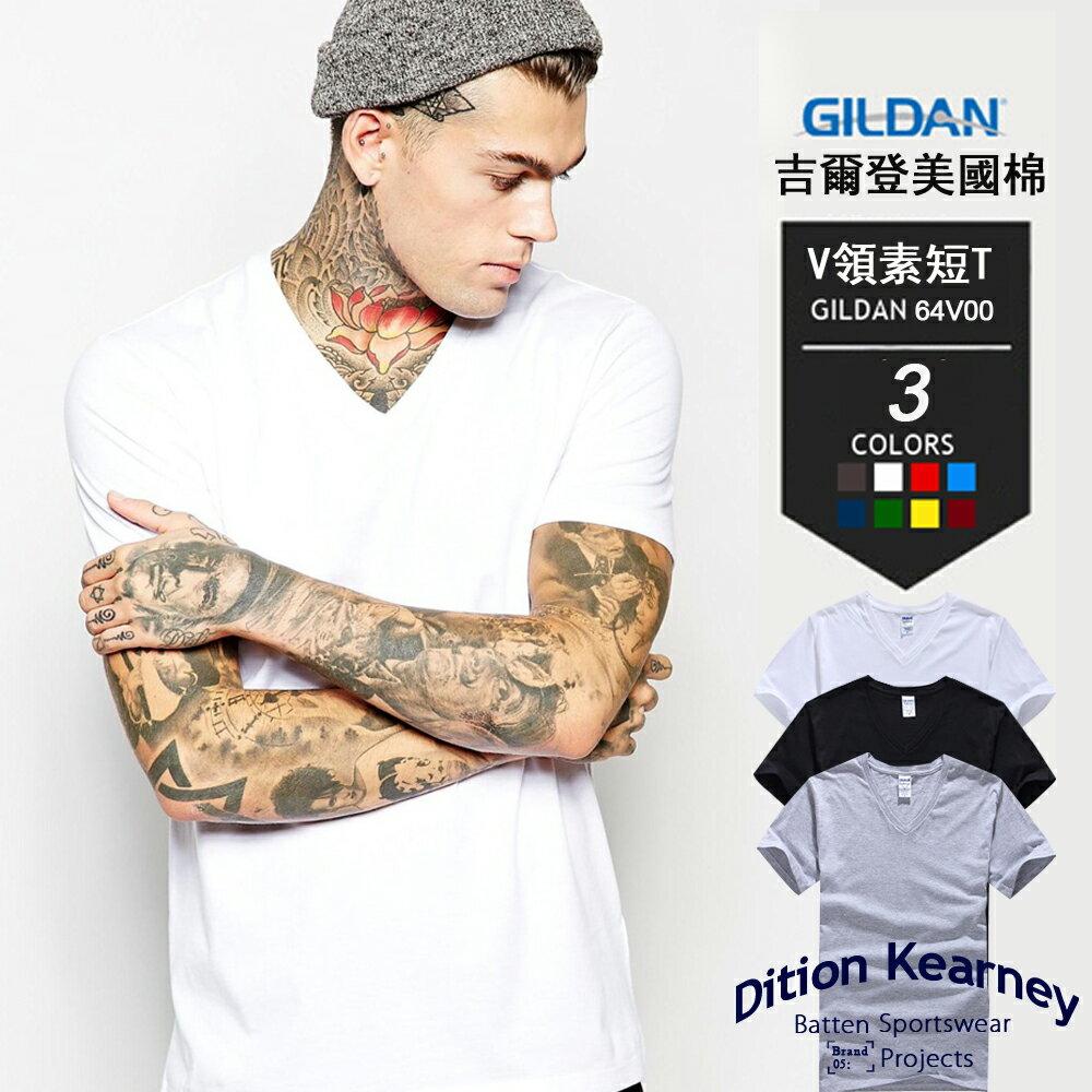 DITION SHOP 美國棉V領吉爾登素T 上班族GILDAN 2
