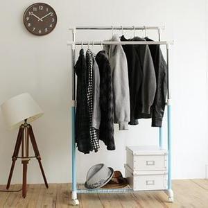 [tidy house]馬卡龍粉嫩雙桿衣架/曬衣架/吊衣架/收納架/掛衣架/置物架/衣櫥架-粉藍HG22B-BU