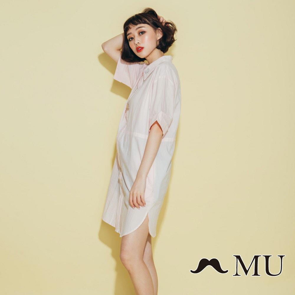 【MU】領子愛心刺繡長版襯衫(2色)8323263 2