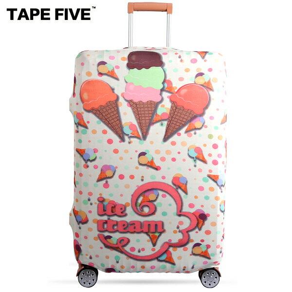 E&J【021001-24】TapeFive夢幻冰淇淋高彈性行李箱套;適用27-29吋防塵套防刮行李箱保護套