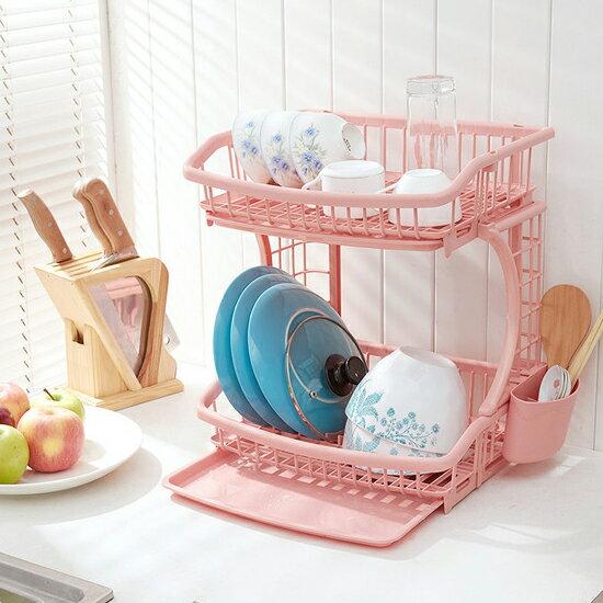 ♚MY COLOR♚廚房雙層餐具置物架 鍋子 碗架 碗碟 儲物 托盤 瀝水 通風 瀝乾 組裝 簡易【W51】