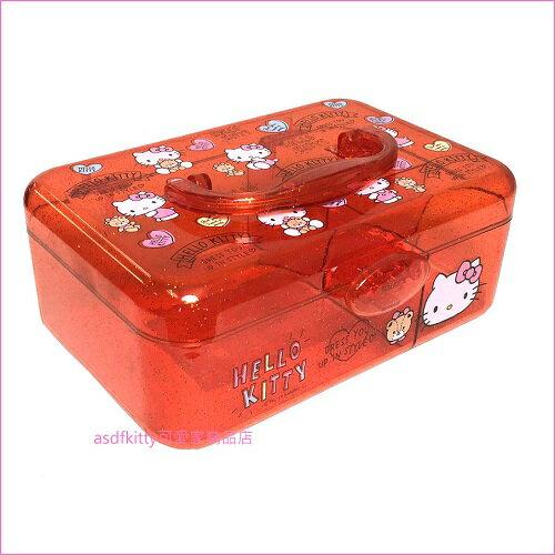 asdfkitty可愛家☆KITTY紅色金蔥手提收納箱/化妝箱/醫藥箱/工具箱/文具箱-日本正版商品