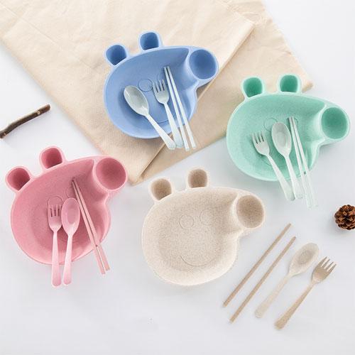 小麥秸稈小豬造型兒童餐盤四件組 盤筷勺叉四件套