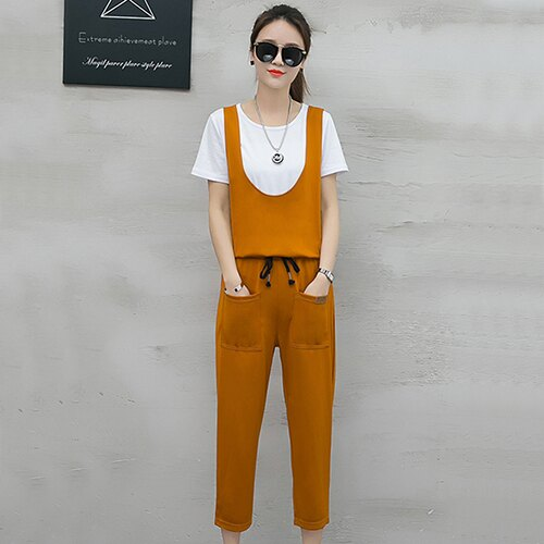 T恤+背帶七分褲兩件套(4色S~2XL)【OREAD】 0