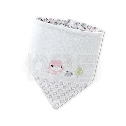 KUKU酷咕鴨竹纖有機棉格紋三角領巾-粉【悅兒園婦幼生活館】